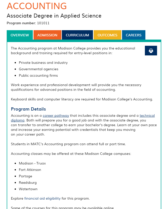 Accounting program page Madison College