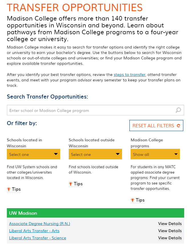 Transfer Opportunities Madison Area Technical College