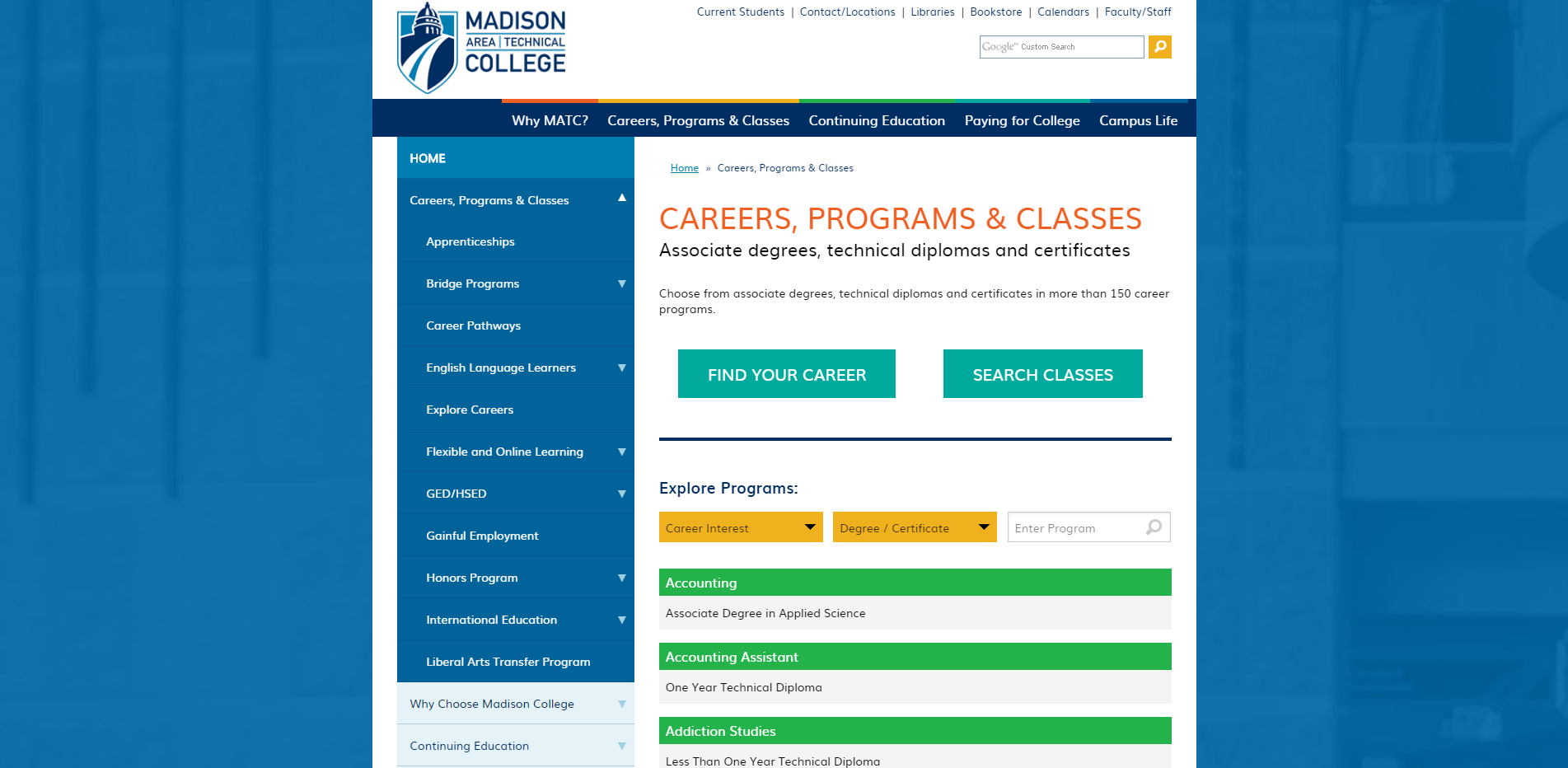 Careers Programs and Classes Madison College