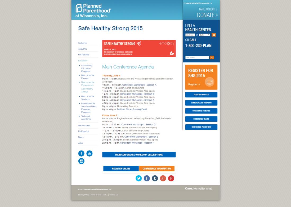 SHS Main Conference Agenda Website